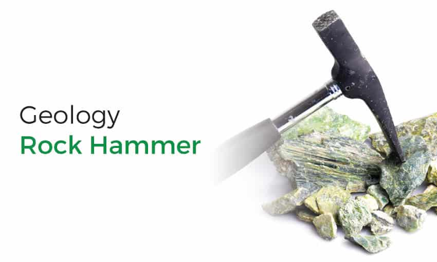 Using a rock hammer for geology.