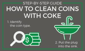 cleaning coins with coke steps 1 through 2