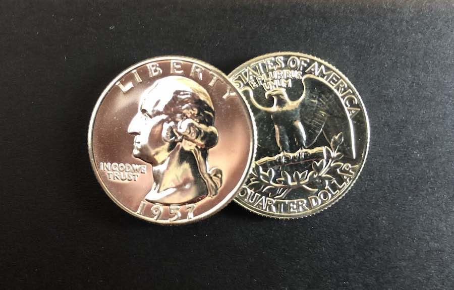 1957 Silver Quarter Front Washington Back Eagle
