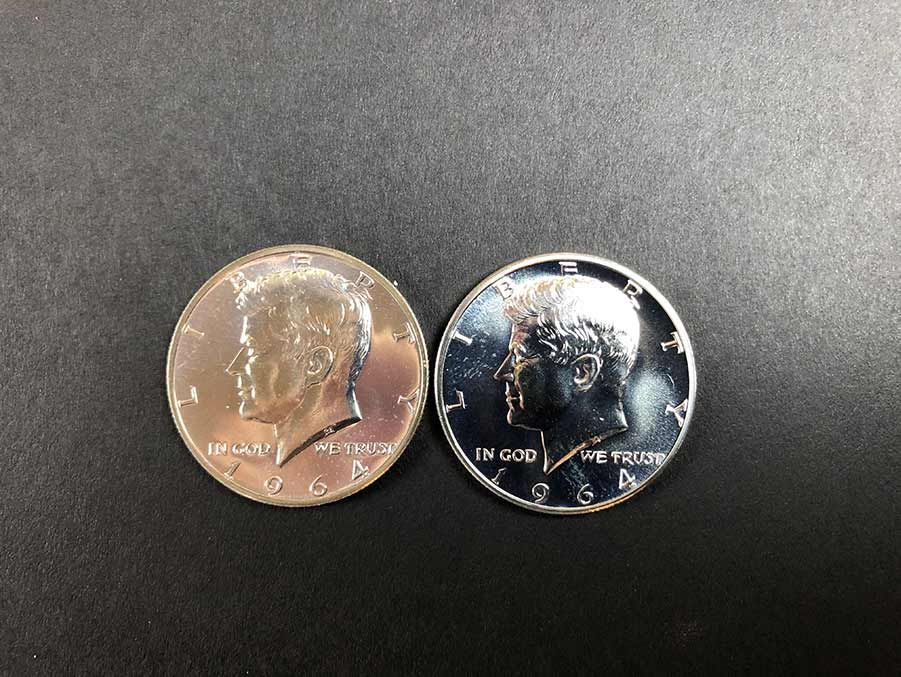 Kennedy Half Dollars side by side